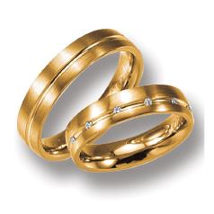Set de Verighete din Aur Roz 14kt cu 12 Diamante Rotund Briliant cu Profil Rotunjit