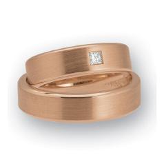 Set de Verighete din Aur Roz 14kt cu un Diamant Forma Princess, Profil Plat si Interior Rotunjit