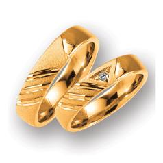Set de Verighete din Aur Roz 14kt cu un Diamant Rotund Briliant, Profil Plat Interior Rotunjit