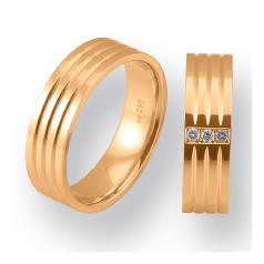 Set de Verighete din Aur Roz 14kt cu 3 Diamante Rotund Briliant, Profil Plat Finisaj Lustruit