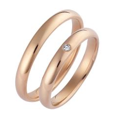 Set de Verighete din Aur Roz 14kt cu un Diamant Rotund Briliant