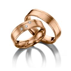 Set de Verighete din Aur Roz 14kt cu 3 Diamante Rotund Briliant, Profil Plat