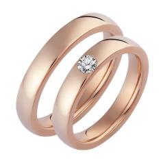 Set de Verighete din Aur Roz 14kt cu un Diamant Rotund Briliant Finisaj Lustruit