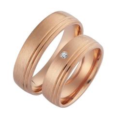 Set de Verighete din Aur Roz 14kt cu un Diamant Rotund Briliant cu Profil Rotunjit si Doua Canale Lustruite