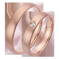 Set de Verighete din Aur Roz 14kt cu un Diamant Princess, Profil Plat Finisaj Periat